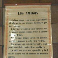 Carteles: CARTEL ENTELADO TEMA ESCOLAR O COLEGIO. S. CALLEJA MADRID. LOS AMIGOS, LOS MAESTROS 85 X 63 CM. Lote 109069847