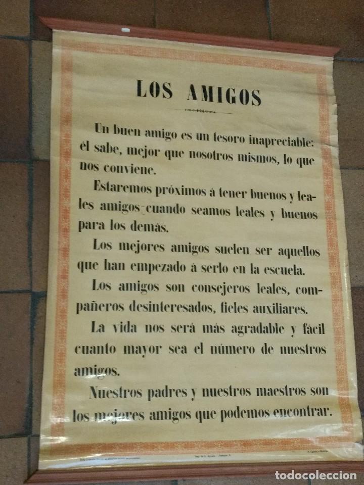 Carteles: Cartel entelado Tema Escolar o colegio. S. Calleja Madrid. Los amigos, los maestros 85 x 63 cm - Foto 2 - 109069847