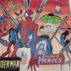 Carteles: CARTEL ORIGINAL COMIC HEROES PINTADO A MANO POR AYNÉ HIJO DE ARGENTONA DIBUJANTE DEL TBO AÑOS 60. Lote 110082055