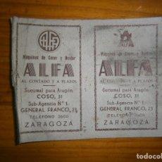 Carteles: BONITA TARGETA DE COSER ALFA ,,,MUY ANTIGUA,,. Lote 111635135