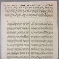 Carteles: NUMULITE CARTEL 0019 FRANCISCO JOSÉ BERNALDO DE QUIRÓS 1825 GOY DE FORNELLS VIDAL DE QUART GERONA. Lote 112250747