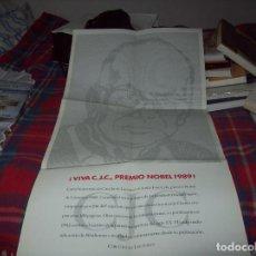 Carteles: MAGNÍFICO CARTEL DE GRANDES DIMENSIONES 85 X 42 CM DE VIVA CAMILO JOSÉ CELA, NOBEL 1989.. Lote 112598043
