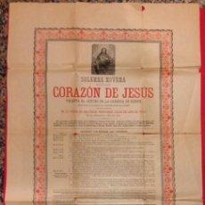 Affissi: NOVENA AL CORAZON DE JESUS EN LA IGLESIA DE LAS TRINITARIAS 1889 LAMINA. Lote 113990947