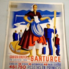 Carteles: CARTEL GRAN RIFA BENEFICA SANTURCE. BIZKAIA. AÑO 1946. NICOLAS MARTINEZ ORTIZ DE ZARATE. Lote 114509159