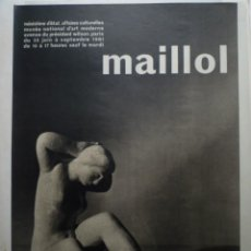 Carteles: MAILLOL. MUSÉE NATIONAL D'ART MODERNE. PARIS. 1961. MOURLOT. Lote 114715051