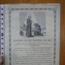 Carteles: ANTIGUO CARTEL RELIGIOSO BENDICIÓN DE SAN FRANCISCO DE ASÍS 1905. Lote 118213331
