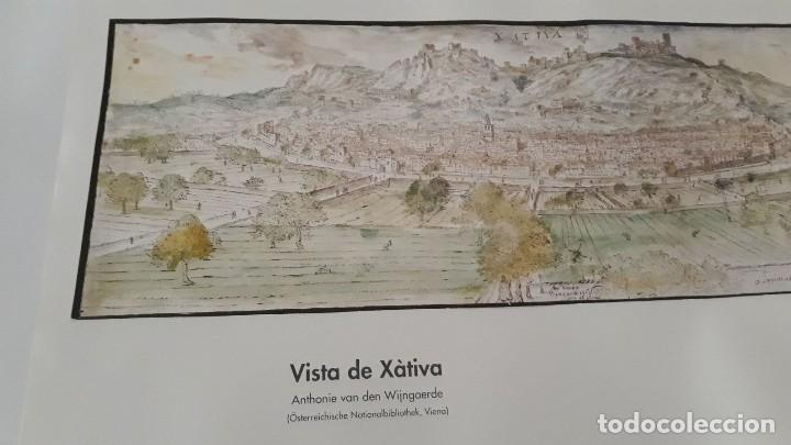 Carteles: Cartel actual Vista de Xàtiva, Xativa o Játiva del dibujo del siglo XVI de Anton Wyngaerde - Foto 2 - 118705207