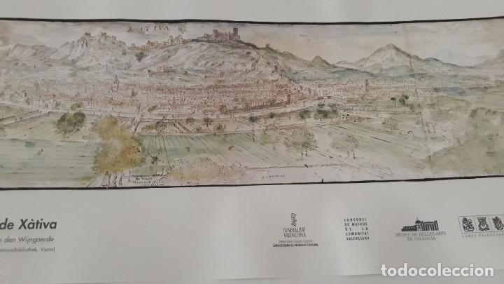 Carteles: Cartel actual Vista de Xàtiva, Xativa o Játiva del dibujo del siglo XVI de Anton Wyngaerde - Foto 3 - 118705207