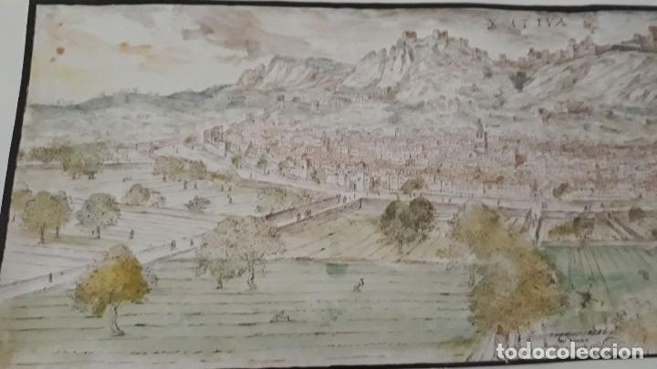Carteles: Cartel actual Vista de Xàtiva, Xativa o Játiva del dibujo del siglo XVI de Anton Wyngaerde - Foto 5 - 118705207