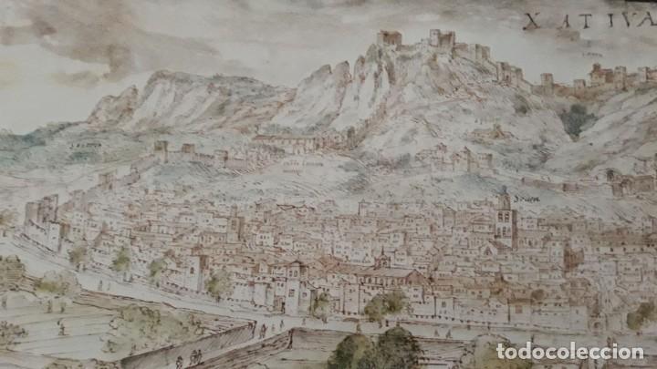 Carteles: Cartel actual Vista de Xàtiva, Xativa o Játiva del dibujo del siglo XVI de Anton Wyngaerde - Foto 7 - 118705207
