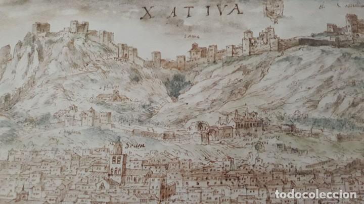 Carteles: Cartel actual Vista de Xàtiva, Xativa o Játiva del dibujo del siglo XVI de Anton Wyngaerde - Foto 9 - 118705207