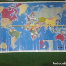 Carteles: POSTER CARTEL MAPA ORIGINAL 100 X 70 ( MAPAMUNDI DE ESCUELA ) 1985 GRAFICAS SUMMA OVIEDO. Lote 118849547