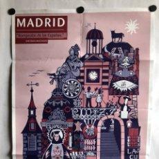 Carteles: MADRID, ROMPEOLAS DE ESPAÑA (ANTONIO MACHADO). CARTEL AÑOS 80 POR CATHERINE PHELPS. 50X70CMS.. Lote 120727879