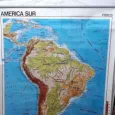 Carteles: CARTEL ESCOLAR(2)... MAPA DE ESCUELA... AMERICA DEL SUR POLITICO / FISICO EDIGOL 1984. Lote 121082851