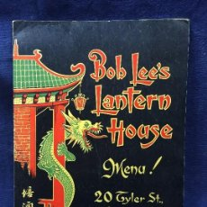 Carteles: MENU RESTAURANT REAL CHINESE CUISINE BOB LEE S LANTERN HOUSE BOSTON AIR CONDITIONED 30X21,5CMS. Lote 210758041