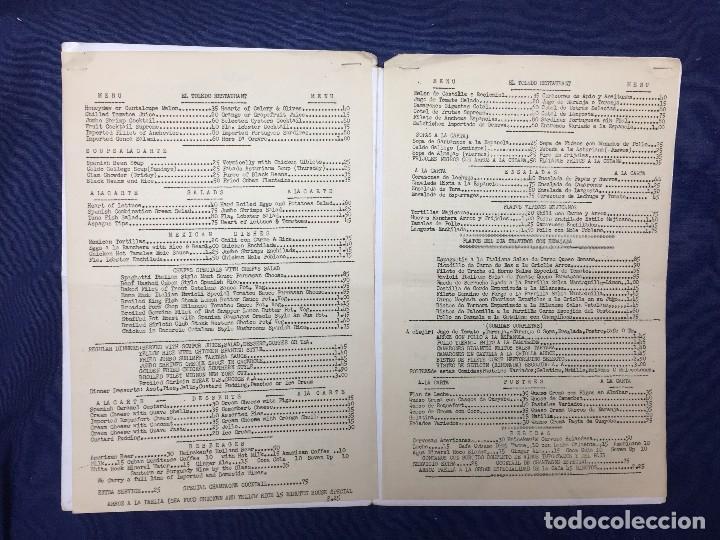 Carteles: MENU RESTAURANTE EL TOLEDO SPANISH AMERICAN MIAMI FLORIDA AÑOS 50 30,5X20,5CMS - Foto 2 - 122215599