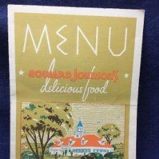 Carteles: MENU HOWARD JOHNSON S DELICIOUS FOOD LONG ISLAND NEW YORK 25,5X18CMS. Lote 122218955