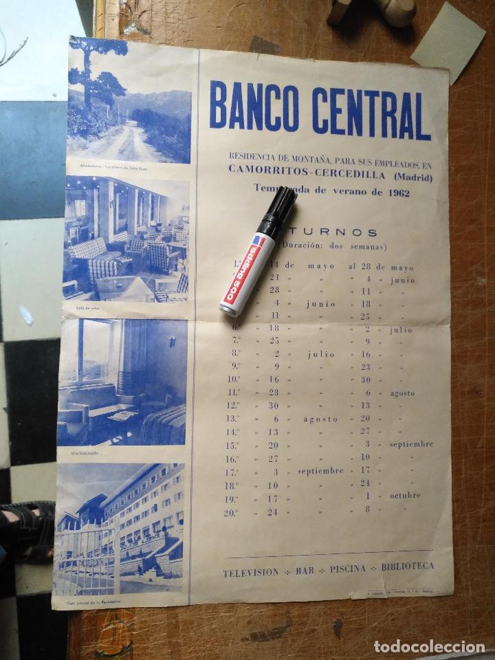 ANTIGUO CARTEL BANCO CENTRAL 1962 CAMORRITOS CERCEDILLA MADRID RESIDENCIA DE MONTAÑA PARA EMPLEADOS (Coleccionismo - Carteles Gran Formato - Carteles Varios)