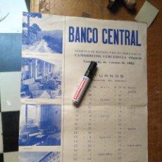 Carteles: ANTIGUO CARTEL BANCO CENTRAL 1962 CAMORRITOS CERCEDILLA MADRID RESIDENCIA DE MONTAÑA PARA EMPLEADOS. Lote 123519359