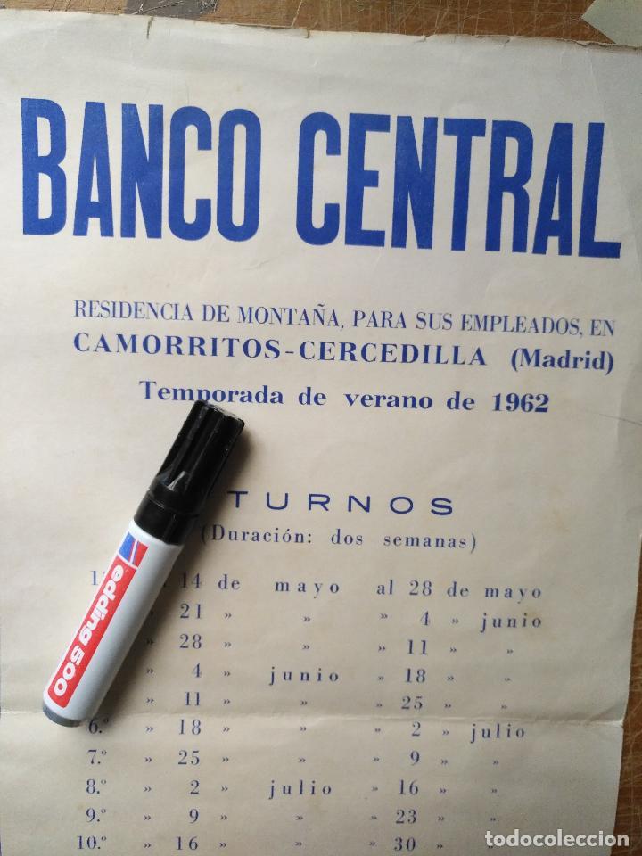 Carteles: ANTIGUO CARTEL BANCO CENTRAL 1962 CAMORRITOS CERCEDILLA MADRID RESIDENCIA DE MONTAÑA PARA EMPLEADOS - Foto 2 - 123519359