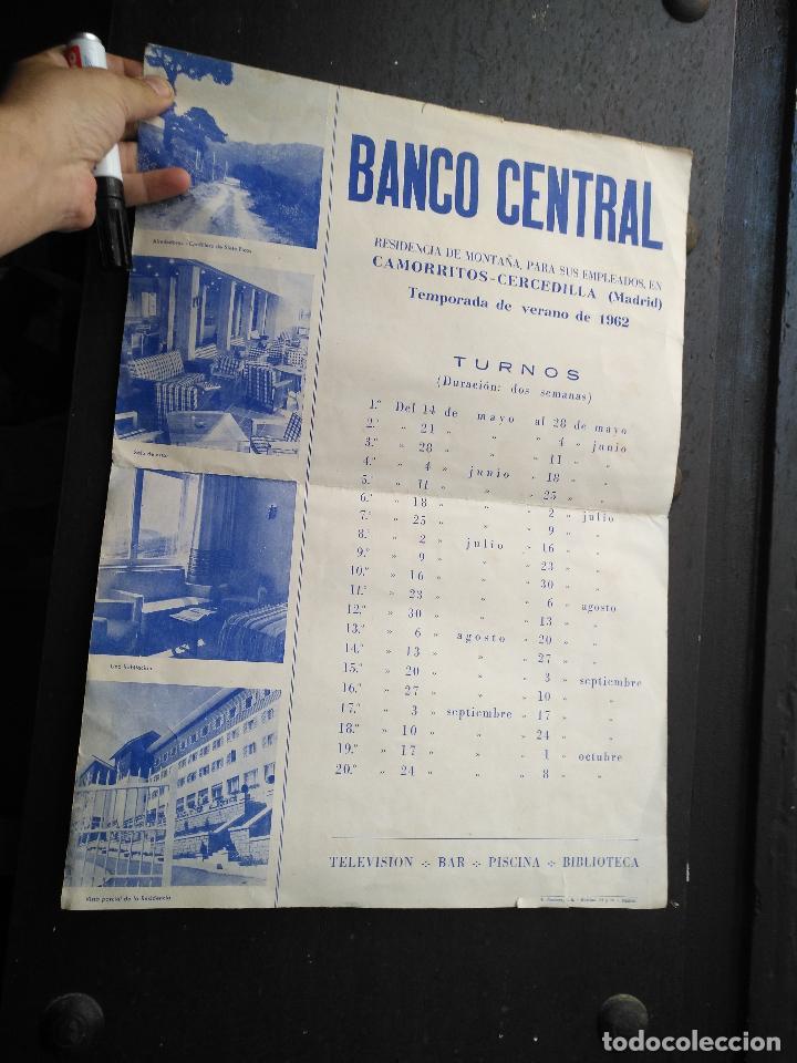Carteles: ANTIGUO CARTEL BANCO CENTRAL 1962 CAMORRITOS CERCEDILLA MADRID RESIDENCIA DE MONTAÑA PARA EMPLEADOS - Foto 5 - 123519359