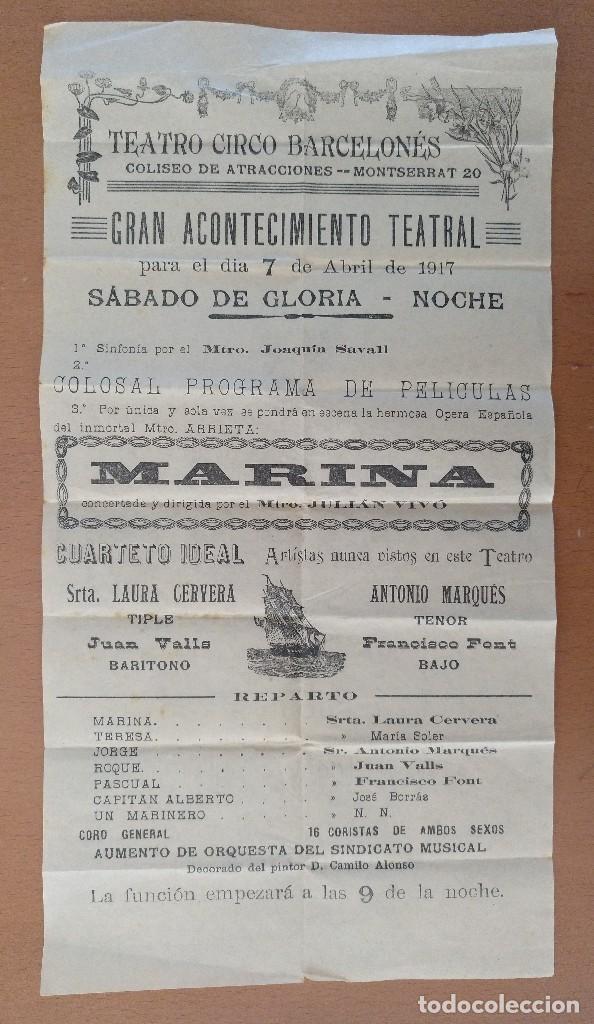 CARTEL TEATRO CIRCO BARCELONES OPERA ESPAÑOLA MARINA 1917 19,5 X 37 CM (APROX) (Coleccionismo - Carteles Gran Formato - Carteles Varios)