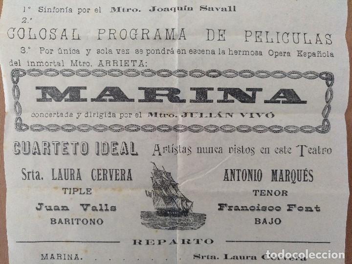 Carteles: CARTEL TEATRO CIRCO BARCELONES OPERA ESPAÑOLA MARINA 1917 19,5 X 37 CM (APROX) - Foto 2 - 125381467