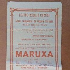Carteles: CARTEL TEATRO ROSALIA DE CASTRO ENERO 1918 MERCEDES CAPSIR MARUXA CAVALLERIA RUSTICANA. Lote 125381659