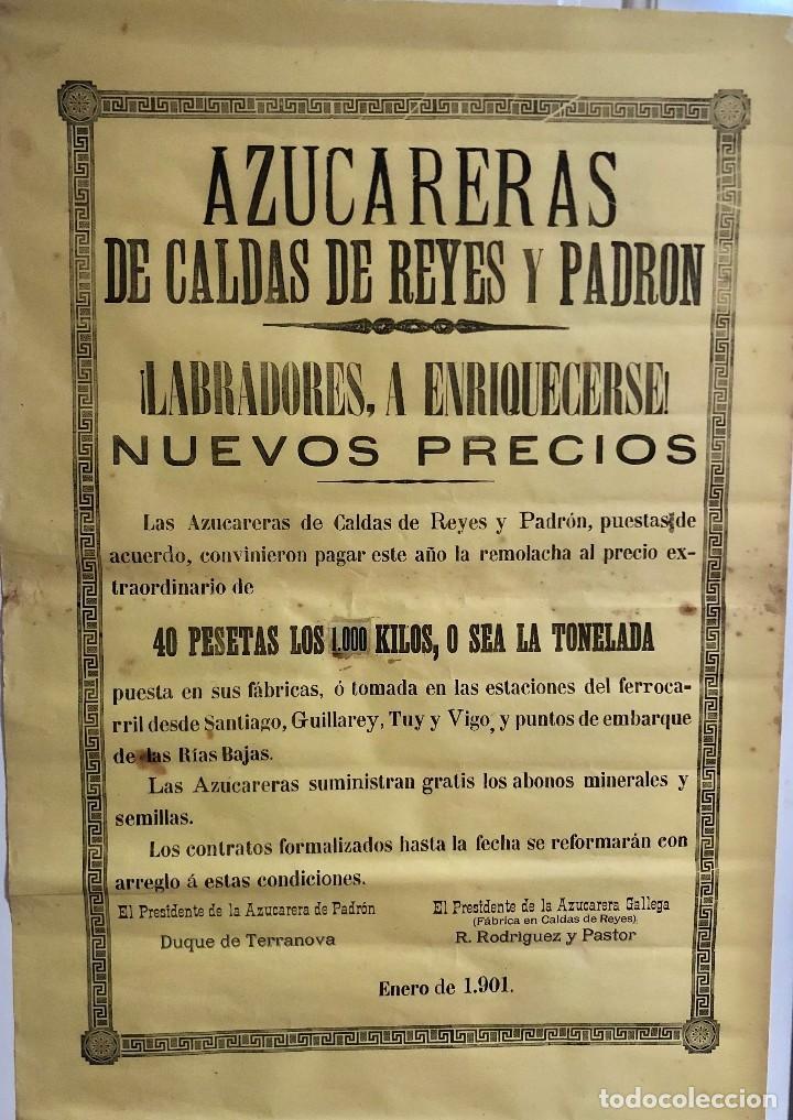 AZUCARERAS CALDAS DE REYES Y PADRON. GALICIA. ¡LABRADORES A ENRIQUECERSE!. CARTEL 64X44 CM. AÑO 1901 (Coleccionismo - Carteles Gran Formato - Carteles Varios)