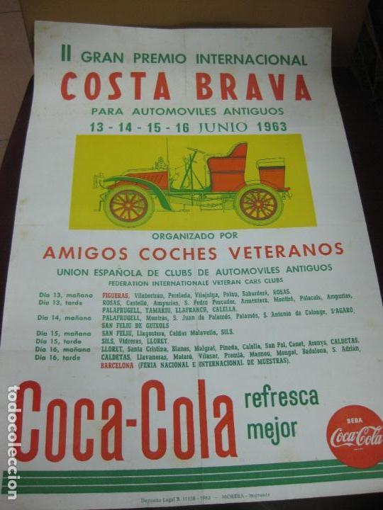CARTEL II GRAN PREMIO INTERNACIONAL COSTA BRAVA AUTOMOVILES ANTIGUOS. JUNIO 1963. COCA-COLA. (Coleccionismo - Carteles Gran Formato - Carteles Varios)
