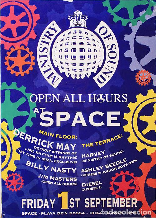 Poster Space Ibiza 2000 | Ministry of sound open all hours | 42 x 59 cm segunda mano