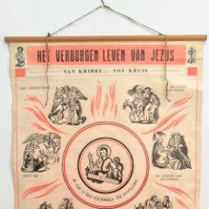 Carteles: ANTIGUO POSTER ORIGINAL. ALBUM DE ESCUELA DE BÉLGICA . AÑO 1954. VINTAGE RETRO. Lote 127579938