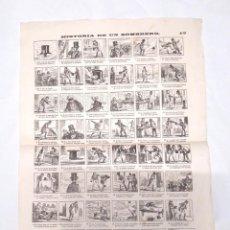 Carteles: AUCA HISTORIA DE UN SOMBRERO, PAPEL DE HILO. MED. 33 X 46 CM. Lote 128774355