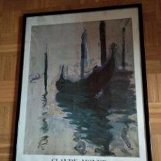 Carteles: CARTEL ORIGINAL EXPOSICION CLAUDE MONET MUSEO ARTE CONTEMPORANEO 1986 CON MARCO Y CRISTAL. Lote 128786352