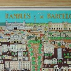 Carteles: PÓSTER LES RAMBLES DE BARCELONA DE 1985. COYIRIGHT I. FEIJÓO. COMERCIOS DE LA ÉPOCA. 70X50,5 CM.. Lote 128857827
