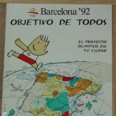 Carteles: PÓSTER BARCELONA 92. OLIMPIADAS. OBJETIVO DE TODOS. 1988. FORMATO 67X48,5 CM. VER FOTOS. Lote 128859651