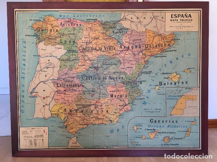 Mapa De España Antiguo.Antiguo Mapa De Espana Anos 40