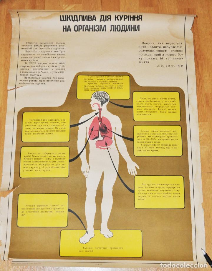 CARTEL SOVIETICO SOBRE PELIGRO DE FUMAR .URSS (Coleccionismo - Carteles Gran Formato - Carteles Varios)