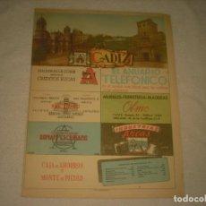Carteles: PUBLICIDAD PROVINCIAL DE CADIZ . 28 X 23 CM. CON MAPA .MATEU- CROMO. Lote 131766686