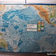 Carteles: MAPA DE ESCUELA (0.2).. CARTEL ESCOLAR... OCEANIA FISICO Y POLITICO 1971. Lote 132787554