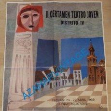 Carteles: SEVILLA, 1989, CARTEL II CERTAMEN TEATRO JOVEN, 48X68 CMS. Lote 132975846