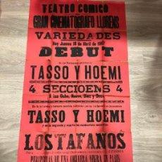 Carteles: CARTEL TEATRO COMICO DE CADIZ AÑO 1903 - GRAN CINEMATOGRAFO LLORENS - MEDIDA 130X63 CM. Lote 133769482