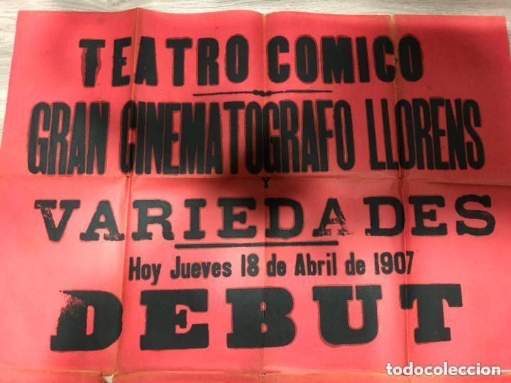 Carteles: CARTEL TEATRO COMICO DE CADIZ AÑO 1903 - GRAN CINEMATOGRAFO LLORENS - MEDIDA 130X63 CM - Foto 2 - 133769482