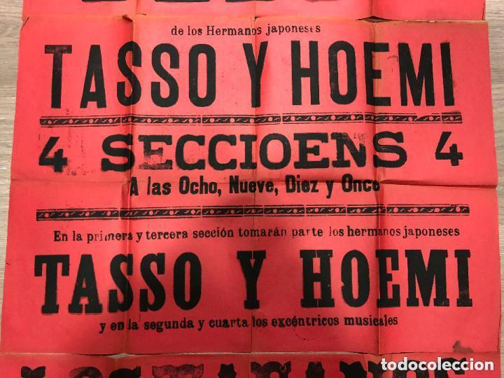 Carteles: CARTEL TEATRO COMICO DE CADIZ AÑO 1903 - GRAN CINEMATOGRAFO LLORENS - MEDIDA 130X63 CM - Foto 3 - 133769482