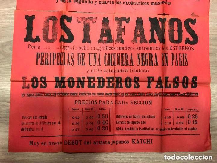 Carteles: CARTEL TEATRO COMICO DE CADIZ AÑO 1903 - GRAN CINEMATOGRAFO LLORENS - MEDIDA 130X63 CM - Foto 4 - 133769482