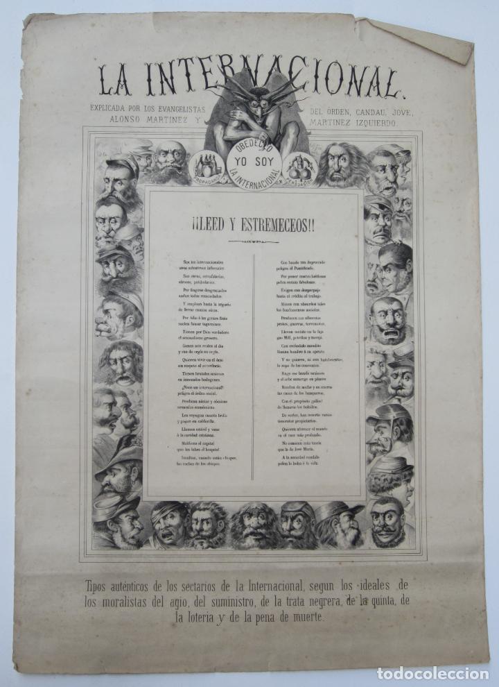CARTEL SATÍRICO LA INTERNACIONAL, SIGLO XIX, TIPOS AUTÉNTICOS DE LOS SECTARIOS. 47,5X67CM (Coleccionismo - Carteles Gran Formato - Carteles Varios)