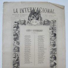 Carteles: CARTEL SATÍRICO LA INTERNACIONAL, SIGLO XIX, TIPOS AUTÉNTICOS DE LOS SECTARIOS. 47,5X67CM. Lote 133810322