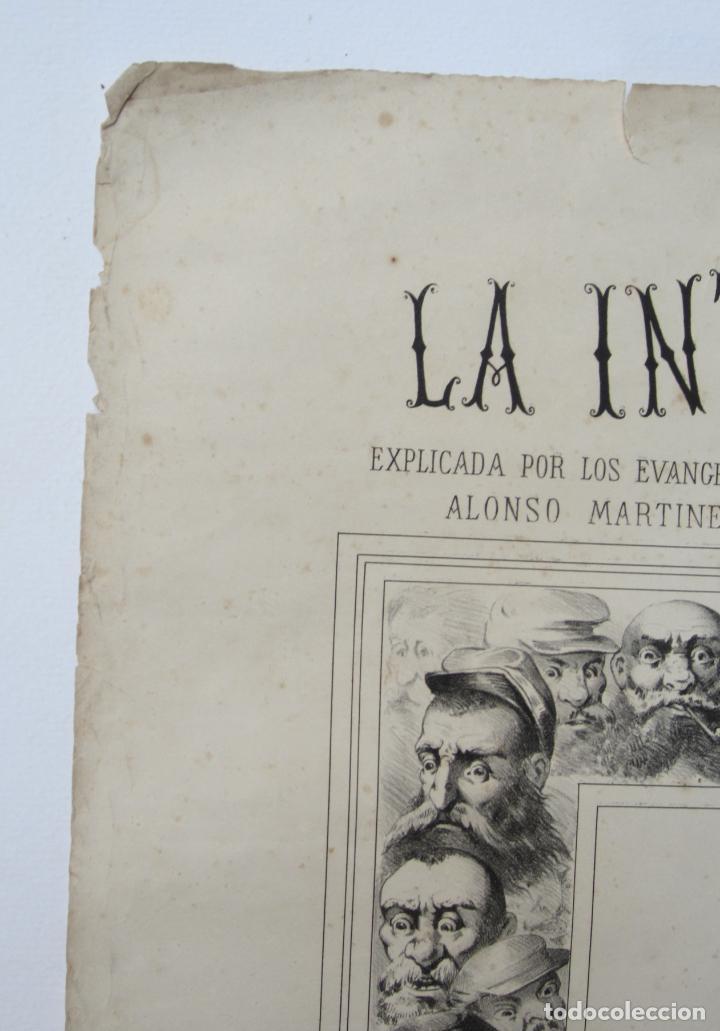 Carteles: Cartel satírico La Internacional, siglo XIX, tipos auténticos de los sectarios. 47,5x67cm - Foto 2 - 133810322