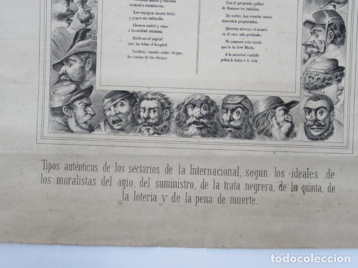 Carteles: Cartel satírico La Internacional, siglo XIX, tipos auténticos de los sectarios. 47,5x67cm - Foto 3 - 133810322