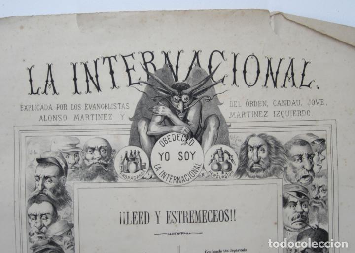Carteles: Cartel satírico La Internacional, siglo XIX, tipos auténticos de los sectarios. 47,5x67cm - Foto 5 - 133810322